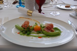 picture of Pea puree, poached egg yolk and Parma ham