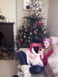 A girl and her cat at Christmas