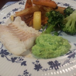 Homemade fish and chips with pea and lemon mayonnaise