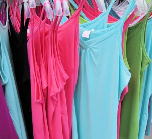 pink and blue vest tops